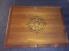"38"" by 40"" Burmese Teak Boat/Yacht/RV Table with gloss epoxy and compass rose"