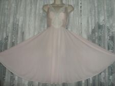VTG RARE Pink OLGA BODYSILK Knee Length Full Swp Nightgown Negligee Gown 9187 ML