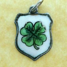 Rare Vintage German Silver Enamel Travel Shield Charm Lucky 4-Leaf Clover
