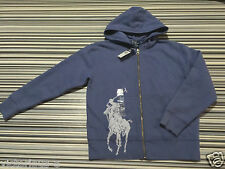 RALPH LAUREN Rare! Denim Blue BIG PONY Logo Zip Hoodie : 8 (S) Age 7 - 8 BNWT