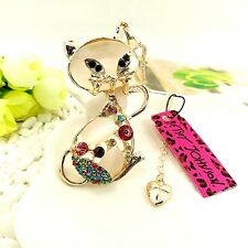 Betsey Johnson gold plating crystal cat sweater chain necklace Pendant BB97