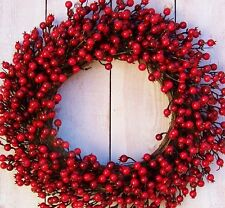 LARGE Christmas Winter Fall Wreath Primitive Country RED BERRY DOOR WREATH DECOR