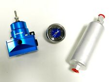WALBRO 255LPH INLINE FUEL PUMP + BLUE FUEL PRESSURE REGULATOR + 0-100 PSI GAUGE