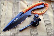 8 INCH OVERALL SURVIVOR FIXED BLADE KNIFE W/ MAGNESIUM ALLOY FLINT NYLON SHEATH