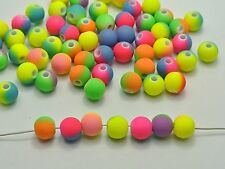 "200 Multi-Color Neon Beads Acrylic Round Beads 8mm(0.32"") Rubber Tone"