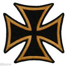 "MALTESE CROSS EMBROIDERED PATCH 8 X 8CM (3 "" X 3"") Gold/Black"