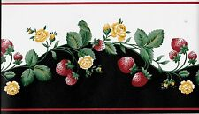 Country Strawberries and Roses on Black and White WALLPAPER BORDER