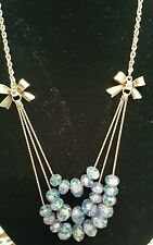 Betsey Johnson Goldtone Blue/Purp Flower Glass Bead Rose Bows Layer Necklace