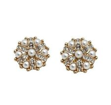 Gorgeous gold / silver tone pearl and crystal flower clip on earrings