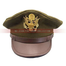 WW2 US Army Cap Golden Eagle Badge Air Corps Officer Military Crusher Hat