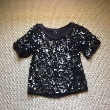 FCUK French Connection Raining Sequins Top Blouse Tshirt XS 0 2 Black Beaded