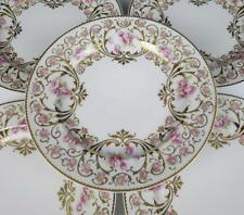 Set 12 Antique Haviland Limoges Cabinet Plates Pink Roses & Fancy Gold Porcelain