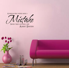 A Person Who Never Made A Mistake Inspirational Quote Wall Sticker Decal Decor