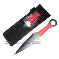 "6.5"" 3 PC TACTICAL COMBAT METAL THROWING KNIFE SET RED NARUTO NINJA KUNAI"