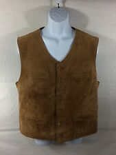 Leather Button Vest - Brown Sz XL EUC - Lined - Pockets - Consensus Sportswear
