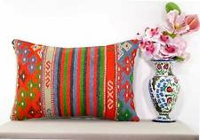 Embroidered Vintage Lumbar Kilim Pillow Cover Large Turkish Cushion Case 16x24""