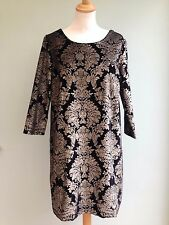 DRESS SIZE 18 VELVET TUNIC STYLE BY SOFT GREY GOLD BAROQUE PRINT ON BLACK BNWT