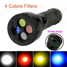 New Cree R2 White Red Yellow Blue 4 Color Signal Strobe AAA 18650 LED Flashlight