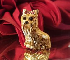 Joan Rivers Dog Brooch gold