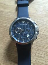 NEW Emporio Armani Navy Blue Dial & Rubber Strap Chrono Sport Watch AR0649 $345+