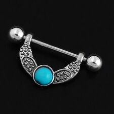 Retro Turquoise Flower Surgical Steel Nipple Shield Bar Ring Body Piercing 1pc
