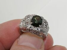 WB 14K SOLID WHITE GOLD OVAL PERIDOT & DIAMOND DOME CLUSTER ESTATE RING 5 GREEN