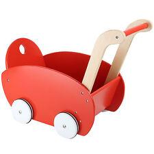 Passeggino per bambole rosso 53x29x41cm Macchina per imparare a camminare Legno