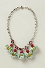 ANTHROPOLOGIE CANDY CLUSTER STATEMENT NECKLACE GLASS FLOWERS BAUBLE CREW
