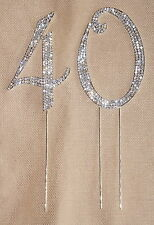 CRYSTAL RHINESTONE 40th ANNIVERSARY CAKE TOPPER TABLE NUMBER DECORATION BLING