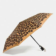 Coach F64150 Umbrella in Signature Ocelot Print Leopard Brown New With Tag