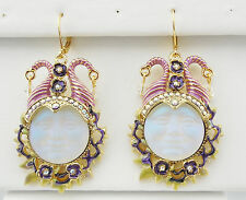 KIRKS FOLLY MALEFICENT SEAVIEW MOON 20mm LEVERBACK EARRINGS  GT/CRYSTAL AB
