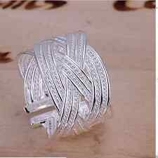 *UK* 925 SILVER PLATED ADJUSTABLE OPEN BAND THUMB RINGS weave gift band cuff