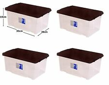 4 x 7L Clear Plastic Small Storage Shoe Toys Tools Craft Supplies Box with Lid