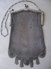 Antique Art Deco Silver Floral Frame Blue Jewel Fancy Fringe Mesh Purse W&D #19