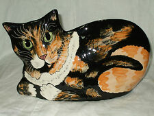 Hand Painted By Nina Lyman Resting Calico Cat Vase Planter - (Pre) Rescue Me-ow