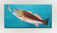 "REDFISH CATCH - Original OIL Painting Red Fish Canvas 12"" x 24"" Sport Fishing"