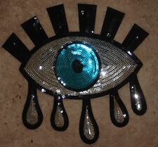 Extra Large Crying Evil Eye Silver Black sequin sequins sewing iron on applique