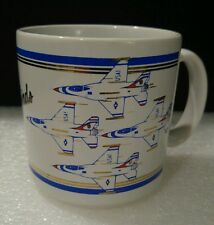US AIR FORCE USAF THUNDERBIRDS Coffee Mug Red White Blue With Gold Trim