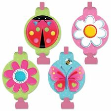GARDEN GIRL BLOWOUTS (8) ~ Birthday Party Supplies Favors Pink Ladybug Flowers