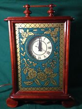 VTG Lanshire Mantle Clock Wood Case w/Green and Gold Glass-Carl Forslund WORKS!