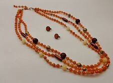 Vintage Avon Necklace & Clip On Earrings Amber Beads Carved Silver Extend Chain