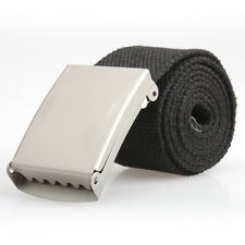 Mens Black Webbing Web Military Style Cotton Canvas Belt Metal Buckle Waist Band