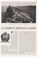 COSTRUZIONE FERROVIA ELETTRICA RIMINI SAN MARINO SERRAVALLE MONTE TITANO 1932