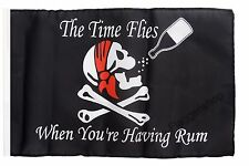Pirat The Time Flies When You are Having Rum Banner Piraten Fahnen Flaggen 30x45