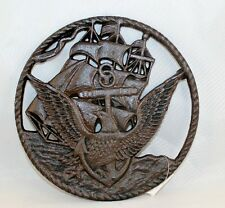 United States Navy Plaque Trivet Wall Decor Cast Iron Veteran New 8 3/8 Inches
