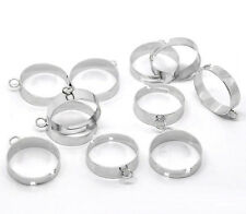 20Pcs Silver Tone Adjustable Ring Blank With Loop Jewelry Findings Charms 19mm
