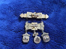 Vintage Costume Jewelry 2 pc pin brooch real diamond, black designs unusual