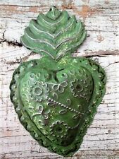 Mexican Tin Heart, Sacred Heart, Painted Punched Tin Heart, Mexican Folk Art