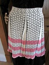 Vintage Pink and Cream Crocheted Apron
