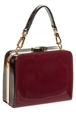 Banned Rockabilly 50s Bag Women Ladies Retro Square Clasp Handbag Bordeaux Red